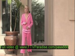 Loryn tender amazing blonde babe comes out of the house