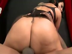 Brunette milf gets her pussy pounded by black cock