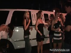 Group of hot party babes showing