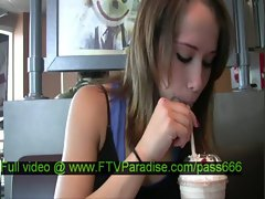 Denise amateur blonde babe in a restaurant talking eating