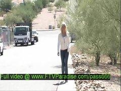 Franziska tender blonde babe walks down the street