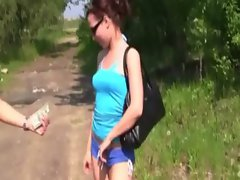 Sexy babes shows off tits for cash outdoors