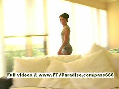 Michaela amateur brunette babe enter a room and undresses