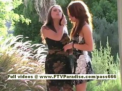 Risi and Renna two superb babes posing outside