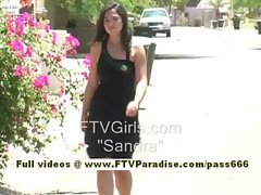 Sandra cute brunette babe goes home