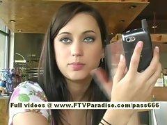 Larysa amateur redhead babe typing on a phone