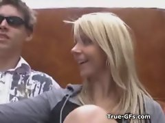 Bikini blonde stroking cock in public