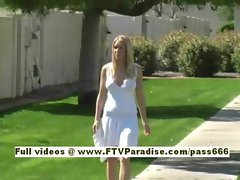 Allison gorgeous blonde babe walking in the parc