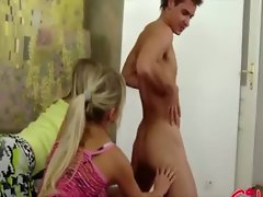 Blond trick guy into getting ass fucked by their strapons
