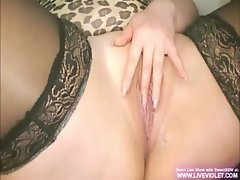 Sweet blonde BBW masturbates her pussy with bottle
