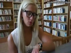 Nerdy liked gf sex inside the library for cash