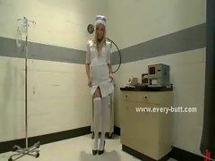 Nasty blonde nurse in white stockings