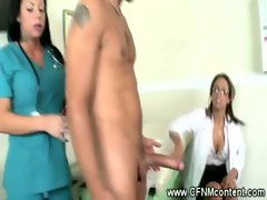CFNM nurses on a cock taste inspection