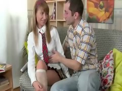 Sexy school girl seduced into sucking
