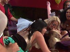 British blonde slut in an orgy scene
