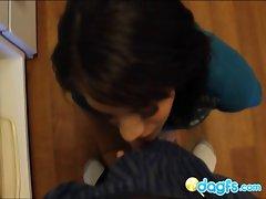 Cute girlfriend blow huge black dick