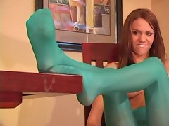 Addison blue pantyhose tease