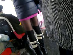 public legs,miniskirt flash dick cum