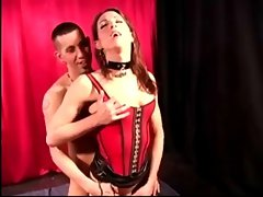 TS in latex corset fucks with gay guy