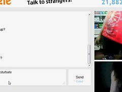 18yo teen play with fake girl on omegle while working