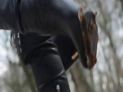 used overkneeboots &, shoes: leather, pantyhose, upskirt