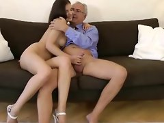Brunette gets a pussy and ass fucking from older guy