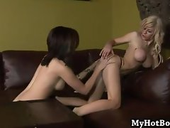 Lesbians Kenzi Marie and Kimber Lace are relaxing