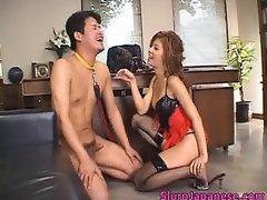 Super hot asian babe slurping cum off part1