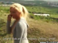 Euro babe sucks cock for cash in public