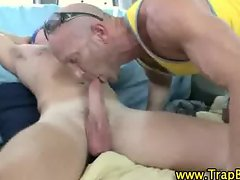 Straighty blindfolded gay bj