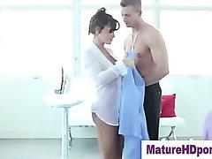 Watch milf hot slut get her tits wet