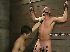 Gay biker uses basement to torture and fuck sex toys spanking men in ropes in bdsm fetish sex video