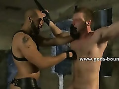 Couple of gay sex toys bound in leather and bondage clips and tortured in extreme rough sex video