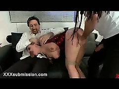Two guys fucks bound blonde in her thorat