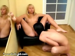 A Lovely Blonde Teenager Banged On A Small Chair