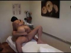 Asian masseuse riding big dick