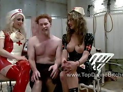Tortured and put to respect by two doms