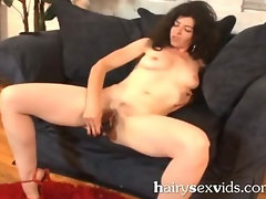 Dildo Drilled Bushy Teen