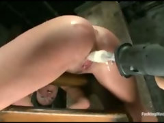 Gagged babes pussy drilled by machines
