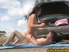 Real aussie brunette gf rides dick