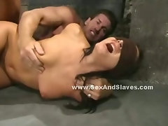 Cop lady with big round butt caught by pervert prisoner and forced to suck cock in deepthroat sex
