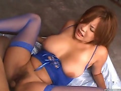 Rui Horie gets fucked by two asian guys in her sexy lingerie