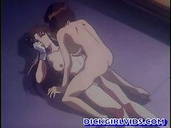 Busty anime girl hot bounching cock