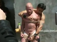 Public gather outdoor on the streets near gay slave punishment in rope bondage gangbang sex video