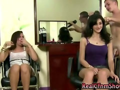 Cfnm salon sluts induce cumshot