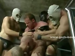 Large whips torment gay hunks bound on bondage devices spanking them roughly in hot video