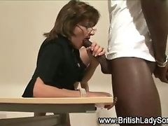 Horny brit Lady Sonia sucks on cock