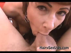Hairy MILF playfull blowjob
