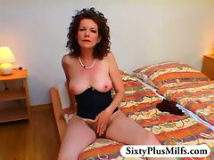 exciting hairy GILF showing her self
