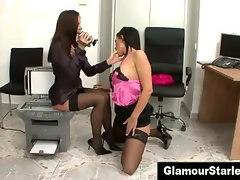 Classy glam pussy eating lesbos